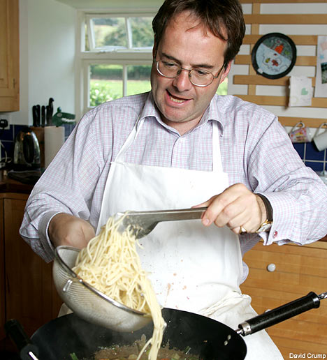 Quentin Letts with spaghetti (interestingly not a baked good)